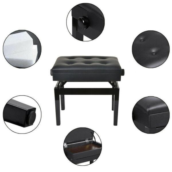klavierbank hohenverstellbar mit notenfach, klavierbank steinway, klavierhocker schwarz, drehhocker